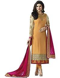 Zeel Fashion Women's Georgette Dress Material (SF4A_Free Size_Orange)