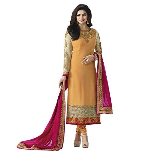 Orange Georgette Embroidered Semi-Stitched Salwar Suit