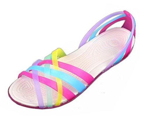 Minetom Donne Scarpe Gelatina Estate Spiaggia Sandali Piatto Tacco Pantofole Sandali Gladiatore Rose 39