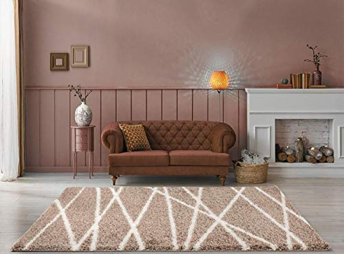 Diana 1006 - tappeto a pelo lungo, morbido, a pelo lungo, con linee bianche su sfondo beige, 5 cm, mocha beige, 80cm x 150cm 2,6ft x 4,9ft