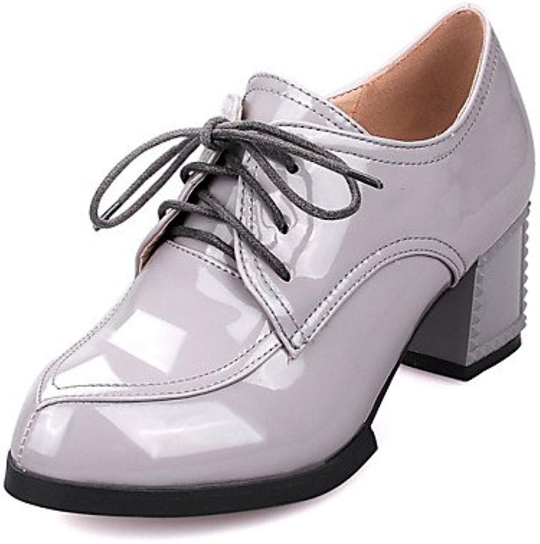 ZQ Zapatos de mujer-Tac¨®n Robusto-Tacones / Puntiagudos-Tacones-Vestido / Casual-Semicuero-Negro / Gris / Bermell...