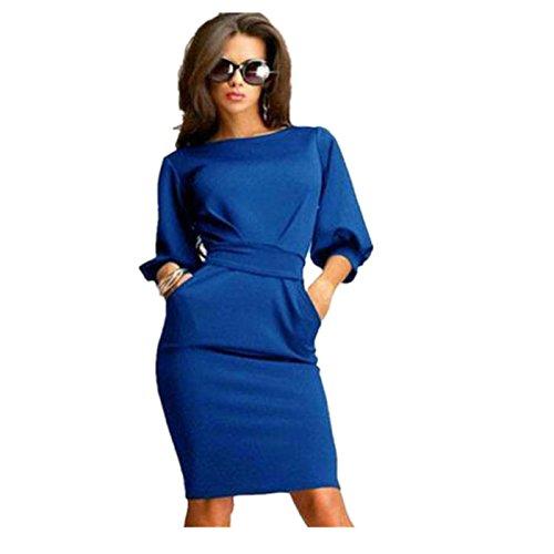 Elecenty Damen Bürokleid Solide Cocktailkleider Halbe Ärmel Kleidung Rock Abendkleider Rundhals Frauen Mode A-Linie Kleid Partykleid Schlank Hemdkleid Blusekleid Sommerkleid (M, Blau)
