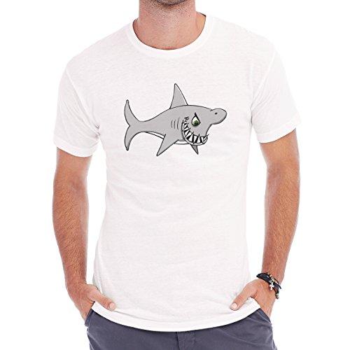 Shark Sea Fish Predator Sharp Herren T-Shirt Weiß
