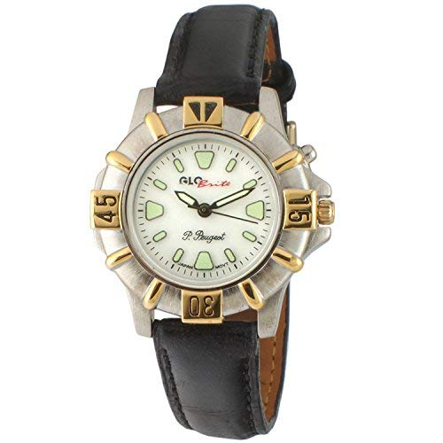 Peugeot Womens Glow in The Dark Two Tone Watch with Black Leather Strap