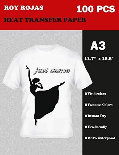 A3T-Shirt Transfers für Inkjet Drucker, Eisen HEAT TRANSFER Papier für weiß oder hellen Stoff T-Shirts, 43,2x 30,5cm 100Blatt -