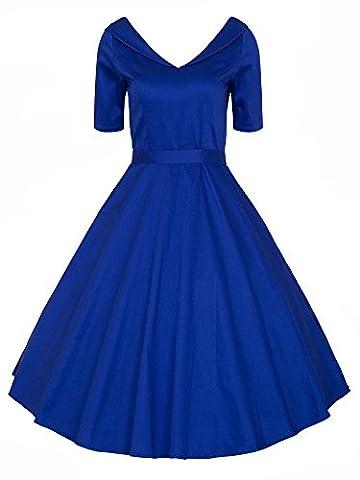 LUOUSE 40s 50s 60s Vintage V-Ausschnitt Schwingen Rockabilly Pinup Ballkleid Partei Kleid,Blue,L