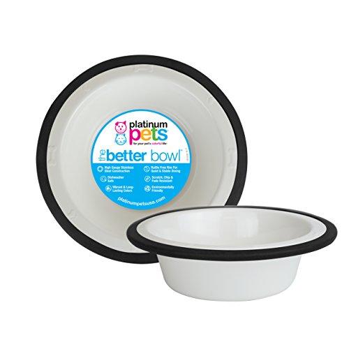 Platinum Pets Kaffeebereiter Edelstahl Schale mit breitem Rand, weiß