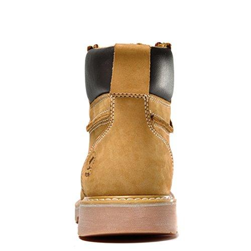 Z.SUO Herren Original-Leder Schnüren Sich Oben Arbeit Desert Boots Stiefel Gelb