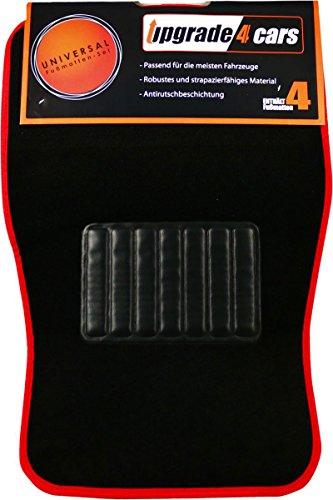 Tapis de Sol Voiture Universel Rouge Noir Velours | pour Avant et Arrière | Accessoire Voiture Interieur | Lot de 4