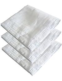 S4S Men's 100% Cotton Luxury Collection Handkerchiefs - Pack of 3 (White_46X46 CM)
