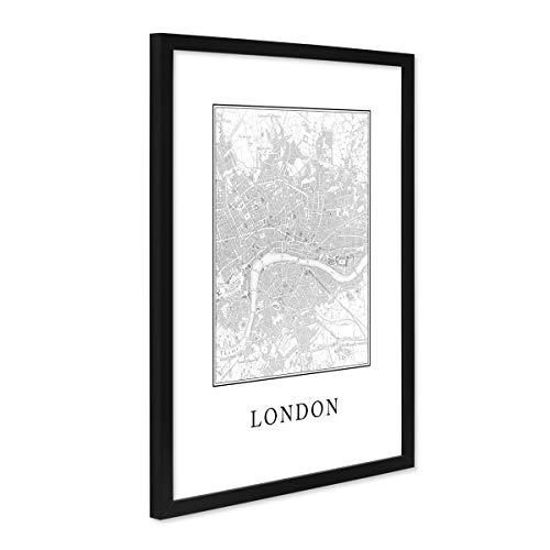 Poster mit Bilderrahmen Schwarz 'London Karte' 30x40 cm schwarz-Weiss Motiv Natur Landschaft Map