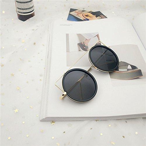Sunyan Korea runde Bunte Katze Ohr Stück Street Fashion Persönlichkeit und großen Sonnenbrillen Sonnenbrillen, Gold Frame Esche schwarz
