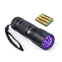 ضوء أسود من TaoTronics، مصابيح إضاءة سوداء بالأشعة فوق البنفسجية، 12 مصباح LED 395 نانومتر، 3 بطاريات AAA للحيوانات الأليفة كشف البول والبقع