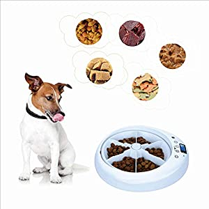 Jumr 6 Repas Distributeur De Nourriture Et Croquettes Automatique pour Petits Animaux Chiens Et Chats Pet Feeder Ecran LCD Programmable
