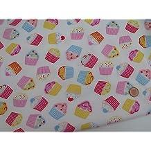 Tela de polialgodón con diseño de cupcakes, 112 cm de ancho ...