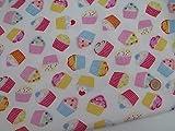 Baumwollmischgewebe-Stoff mit Cupcake-Design, 112cm