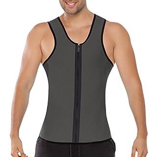 ACMEDE Herren Abnehmen Bauch Körper Fitnessgürtel Former Tank Top Taille Shapewear für Weight Loss Grau M