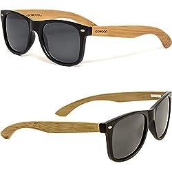 GOWOOD Gafas de sol de madera de bambú para hombre y mujer con frontal negro mate y lentes polarizadas oscuras