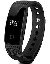 AsiaLONG Bluetooth Fitness Tracker Aktivitätstracker Schrittzähler Uhr Smart Armband mit Kalorienverbrennung, Schlafanalyse, Musik Kamera Steuerung, Wecker SMS SNS Vibration für Android und IOS Handy (Ohne Pulsmesser)