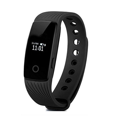 Willful Bluetooth Activité Fitness Tracker intelligente Bracelet Wristband avec sommeil moniteur podomètre compteur de calories réveil appel SMS Avis poignet capteur caméra à distance pour iPhone IOS Android (sans moniteur de fréquence cardiaque)
