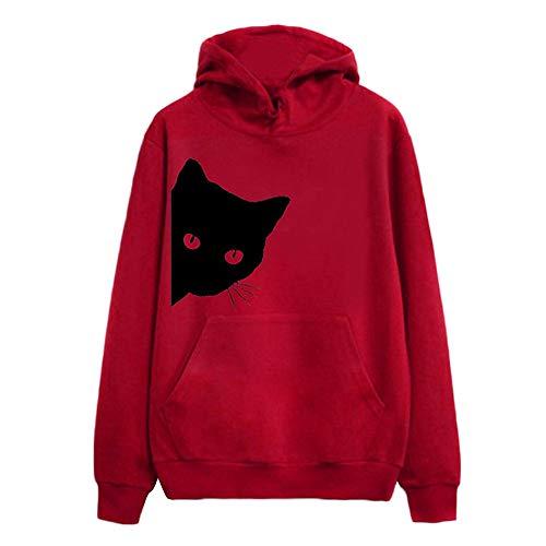 Damen Pullover Mädchen Niedlich Mode Katze Print Langarm-Sweatshirt mit Kapuze Tops MYMYG Frühling Herbst Bluse(rot,EU:38/CN-L)