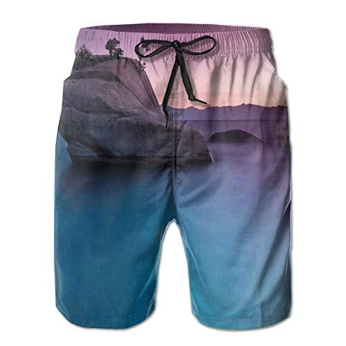 MIOMIOK Mens Beach Shorts Swim Trunks,Bonsai Rock In Lake Tahoe Tropical Surreal Scenery Exotic Vivid Colors Artwork,Summer Cool Quick Dry Board Shorts Bathing SuitXL - Bonsai Rock