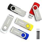 Meinami 5er Pack 8GB USB Stick Bunter USB 2.0 Swivel Rot, Blau, Gelb, Schwarz, Weiß