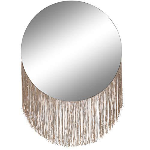 Espejo Circular con Flecos Pared, Espejo Pared Decorativo para Dormitorio. Decoración Moderna Hogar...