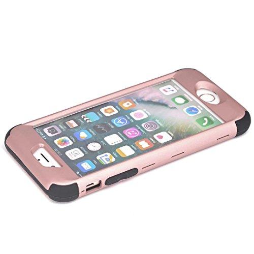 iPhone 7 Hülle,Lantier mattiert Matt Finish Design Angel Eyes Serie Durable 3 in 1 kombiniert Dual Layer Hybrid schlanke schockfesten Defender Cover für Apple iPhone 7 4,7 Zoll Rosen Gold+Rosa Rose Gold+Black