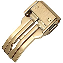 New 24mm Gold Plated Stainless Steel Deployment Clasp Buckle Fit Hublot Watch Band Strap