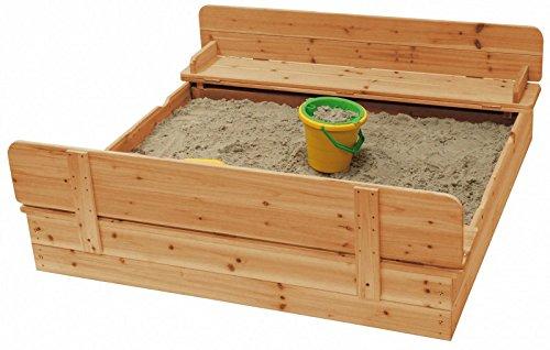 Sandkasten mit Deckel klappbar 2 Sitzbänke Buddelkasten Holz FSC® 120 x 120 cm