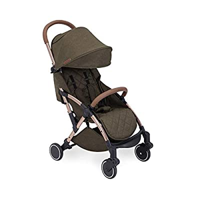 Ickle Bubba Baby Strollers | Lightweight and Portable Stroller Pushchair | Folds Slim for Ultra Compact Storage | UPF 50+ Extendable Hood and Rain Cover | Globe, Khaki/Rose Gold