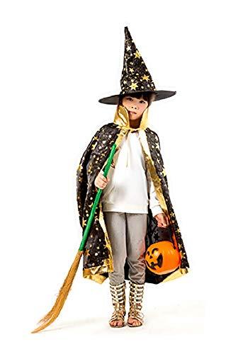 Lovelegis (Schwarzer) Umhang + Hexenhut - Hexe - Zauberer - Zauberer für Kinder - Kostümverkleidung Zubehör Karneval Halloween Cosplay - Mit goldenen Sternen ()