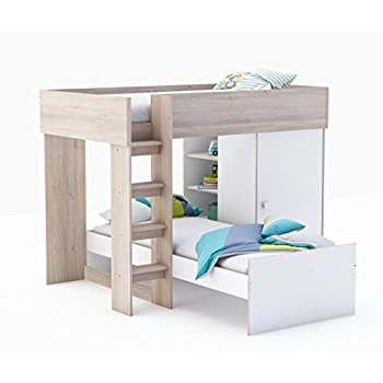 etagenbett kombibett lizzy wei akazie 90x200 cm 2 betten kinder und jugendzimmer amazon. Black Bedroom Furniture Sets. Home Design Ideas