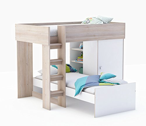 Etagenbett Kombibett Lizzy - Weiß/Akazie, 90x200 cm, 2 Betten Kinder- und Jugendzimmer