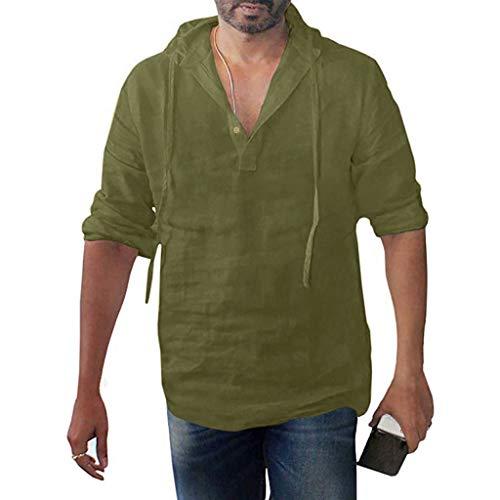 DNOQN Sportshirt Herren T Shirt Topshop Poloshirt Herren Übergröße Langarm Baggy Baumwolle Leinen Solid Button Kapuzen Shirts Tops XXL