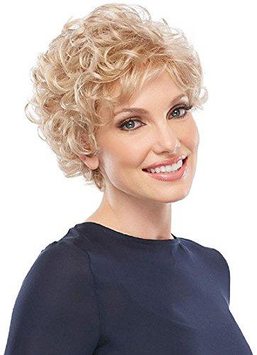 Elegante breve bionda parrucca riccia parrucca laterale parzialmente ondulato leggermente lanuginoso parrucche ondulate altamente fibre di fibre per le donne cosplay