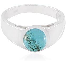 gute Edelsteine runden Cabochon Türkis Ring - 949 Silber blau Türkis gute Edelsteine Ring - Kunst & Sammlerstücke großer Verkäufer Geschenk für Ehemann Welle
