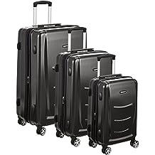"""AmazonBasics Hardshell Trolley Luggage - 3 Piece Set (20"""", 24"""", 28""""), Slate Grey"""