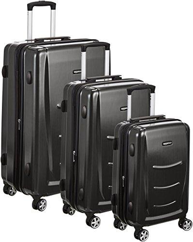 AmazonBasics - Set di trolley rigidi con rotelle girevoli, Set da 3 pezzi (55 cm, 68 cm, 78 cm), Grigio Ardesia