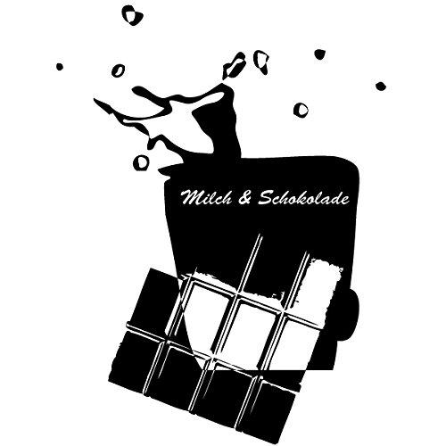 Wadeco Milch und Schokolade Wandtattoo Wandsticker Wandaufkleber 35 Farben verschiedene Größen, 128cm x 170cm, gelb -