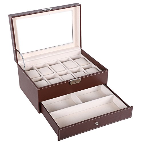 BASTUO Uhrenbox 10 Uhren Schmuckkasten mit PU Leder Schmuck Vitrine mit Schlüssel und Schloss, braun mit Glasplatte