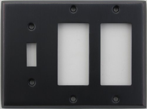 Light Switch Wall Plate (Classic Accents Stamped Steel Oil Rubbed Bronze Three Gang Wall Plate - One Toggle Light Switch Opening Two GFI/Rocker Openings by Classic Accents)