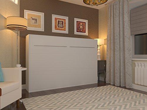 Schrankbett 120×200 cm Horizontal Weiss SMARTBett SMART Punkt Kaltschaummmatratze 120×200 cm, ideal als Gästebett – Wandbett, Schrank mit integriertem Klappbett, SMARTBett - 2