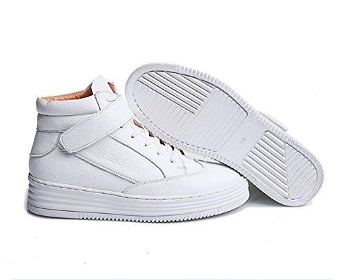 WZG Neue Lederschuhe Frauen weiß High-Top-Lederschuhe Frühlingsschuhe beiläufige Spitze flache Schuhe White