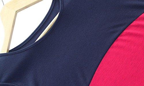 Femmes Trois Couleurs Couture Robes De Jupe Occasionnels Aspicture