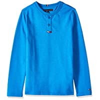 Tommy Hilfiger Boy's Waffle Henley Long Sleeve Knit Tops, Blue, 10 Years