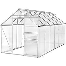 TecTake Invernadero de jardín con base policarbonato aluminio con ventana casero plantas cultivos 11,13m³ 375x185x195cm