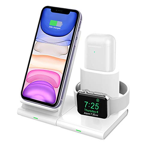 Hoidokly 3 in 1 caricatore wireless, qi-enabled caricabatterie senza fili, ricarica rapido per apple watch, iphone 11/11 pro/11 pro max/xs max/xs/xr/x/8 plus/8, iwatch series 5/4/ 3/2/ 1, airpods 2