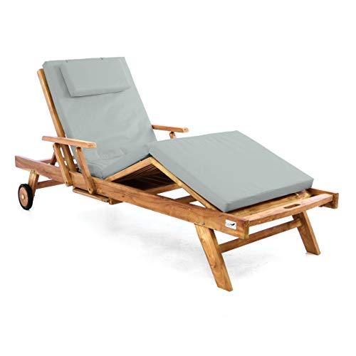 Divero Sonnenliege Holzliege Gartenliege Teak-Holz behandelt mehrfach verstellbar inkl. Räder Tablett + Liegen-Auflage 4-teilig wasserabweisend hellgrau